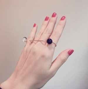 画像3: Two Dots Ring Gold / Clystal&Rapis