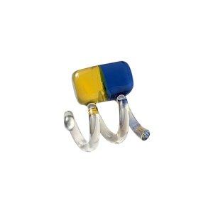 画像1: New Spiral TwoTone Glass Earrings - Blue&Yellow -