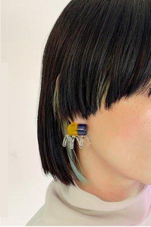 画像3: New Spiral TwoTone Glass Earrings - Blue&Yellow -