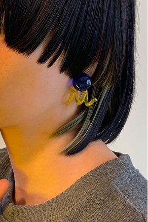 画像4: N.Spiral Glass Earrings - Blue&Yellow -