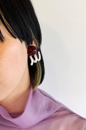 画像3: New Spiral Glass Earrings - Red&White -